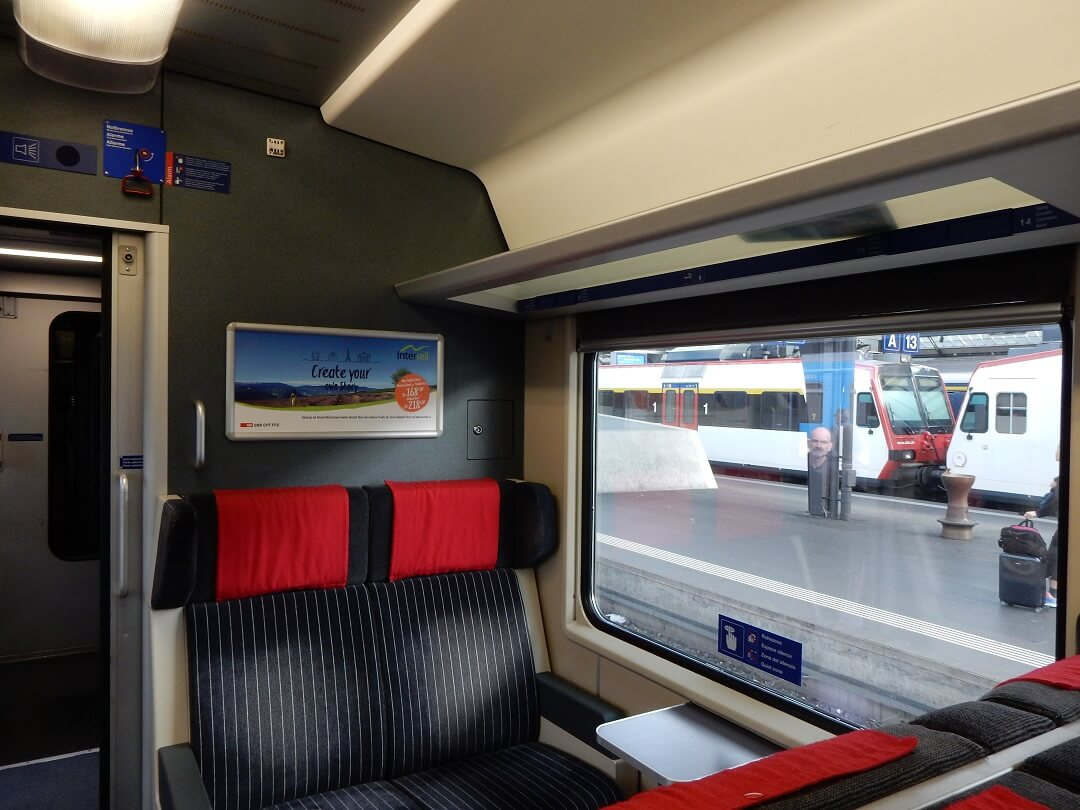 Interrail reservations in Switzerland - Interrail advertisement in the train!