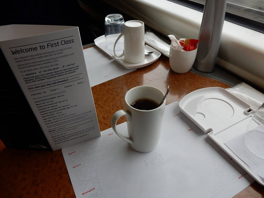 London by train - Complimentary beverages and snacks on the Virgin Trains