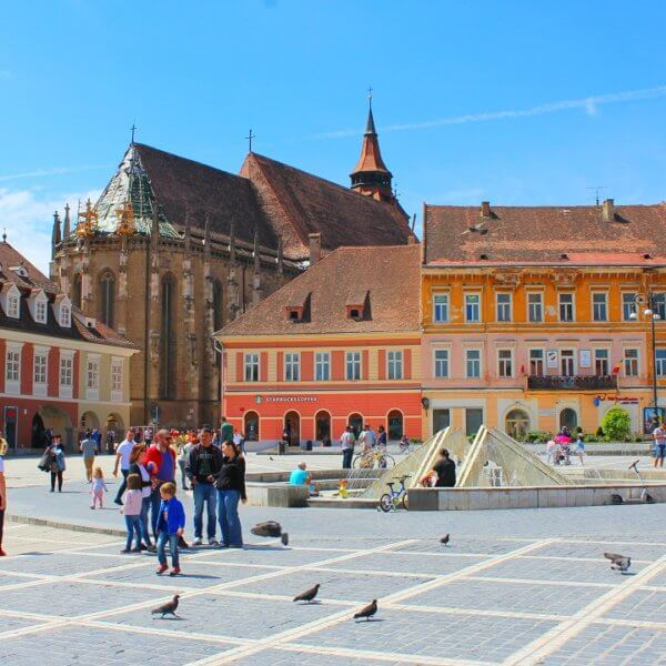 Brasov by train - Central square in Brasov