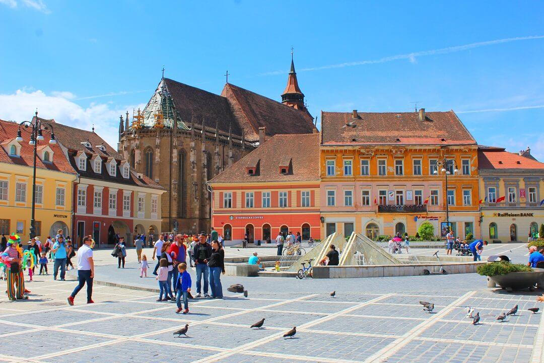 Brasov by train - Central square in Brasov