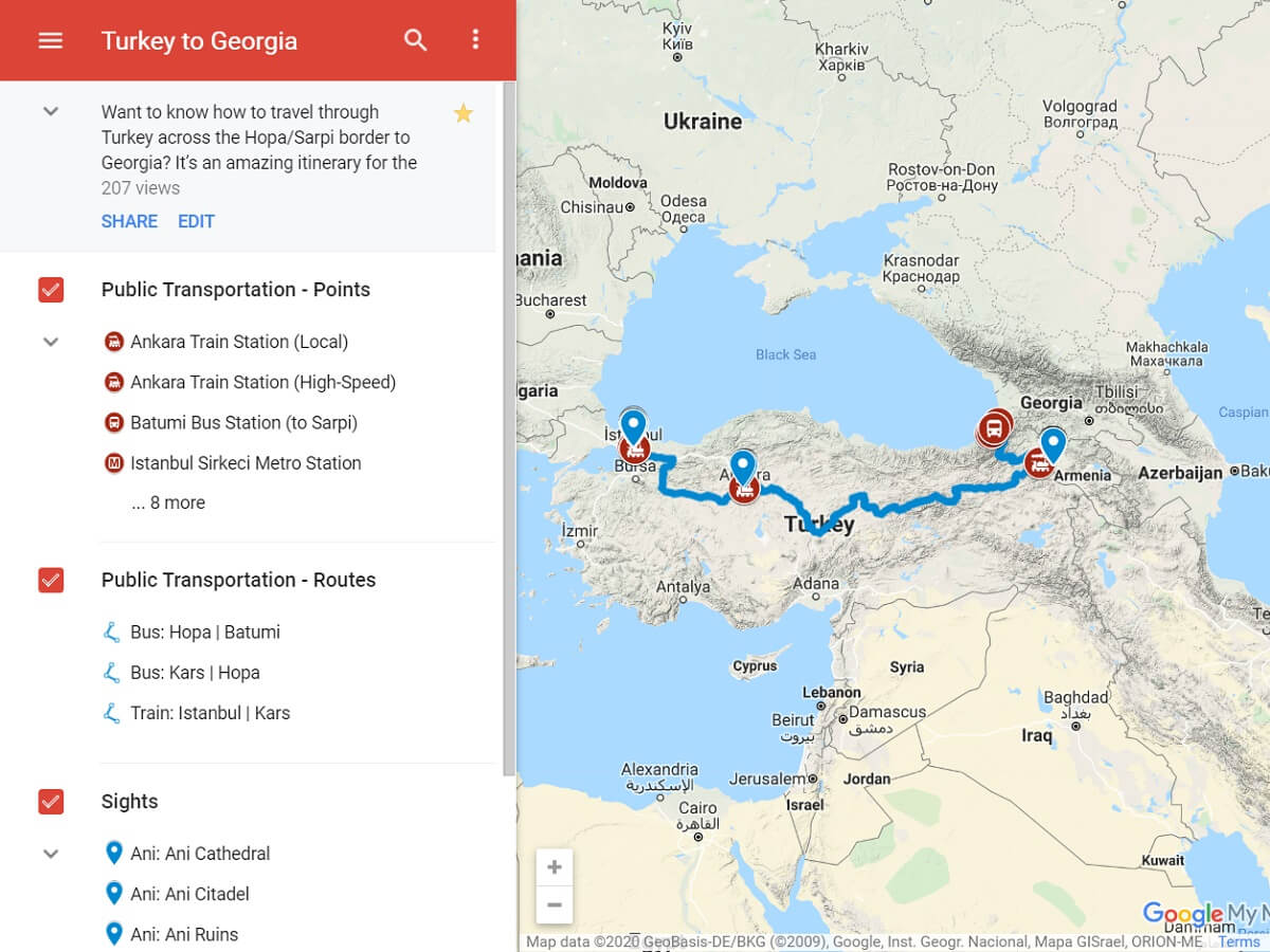Turkey to Georgia - The Georgia Travel Guide Map