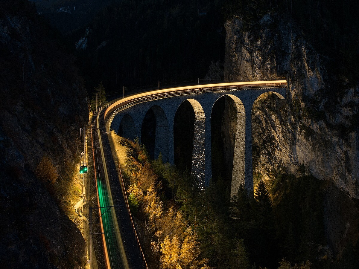 Night Trains in Switzerland - Landwasser viaduct at night II., Tiefencastel - Filisur - Miroslav Volek - http://bit.ly/3bH7kuz